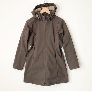 REI Brown Fleece Lined Zip Up Hooded Rain Jacket